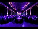 ATP Exhibition Hall purple lights
