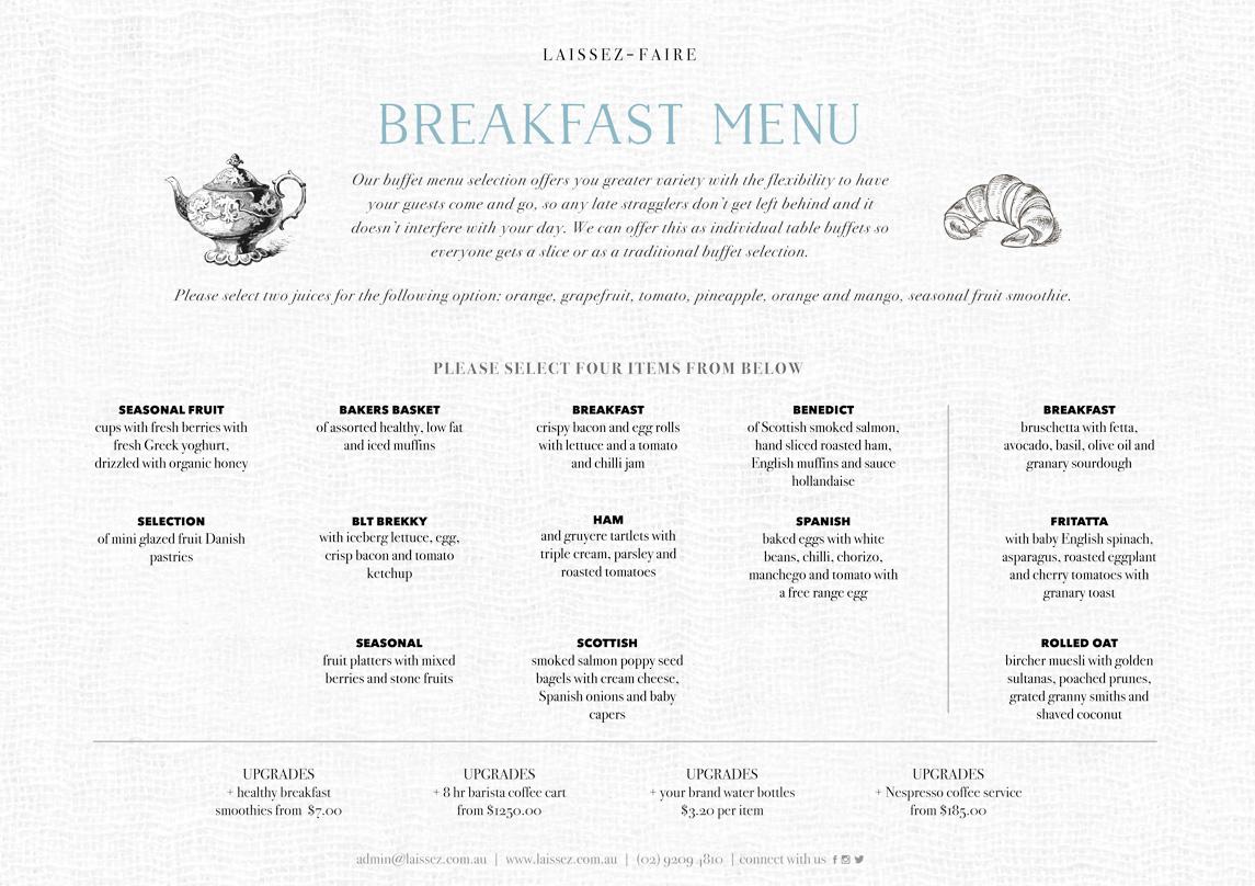 breakfast buffet menu catering sydney laissez faire rh laissez com au breakfast buffet menu suggestions breakfast buffet menu ideas